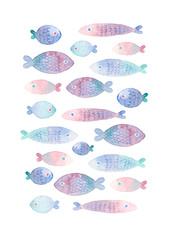 Colorful hand painted greeting card with watercolor fishes. isolated on white background.