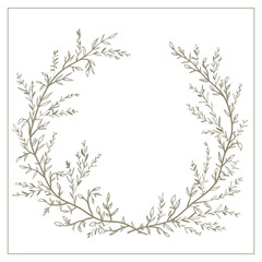 Wreath of twigs and leaves vector. Template for wedding invitati