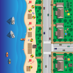 Map of the beach with streets and houses. Umbrellas and lounge chairs on the beachfront. Summer holiday. View from above. Vector illustration.