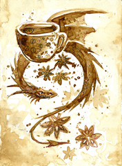 dragon drawn by coffee