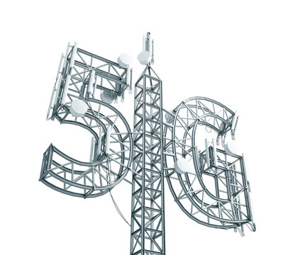 Base station antenna for mobile communication, made in the form of a 5G symbol. 3D illustration isolated on white background.