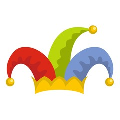 Humor jester icon. Flat illustration of humor jester vector icon for web