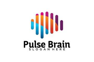 brain pulse logo design template