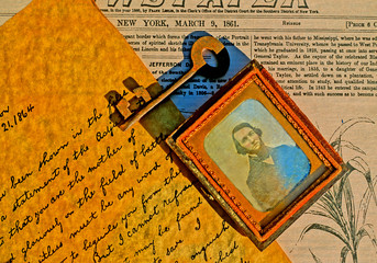 Daguerreotype photograph, letter, newspaper, key, 1860's period vignette.