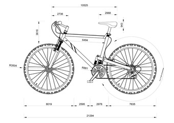 Mountain Bicycle blueprint - isolated