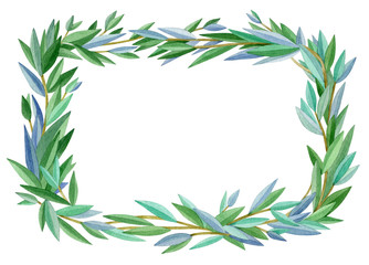Green leaves,  abstract frame, isolated on white. Four seasons. Summer frame.