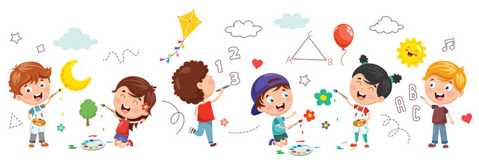Vector Illustration Of Kids Painting