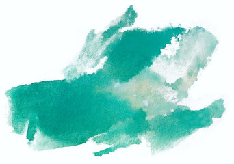 watercolor green stain. Isolated on white background, element for design.