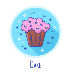 Vector icon with cake in a coloured circle. Vector banner for fast food. Thin line flat design.