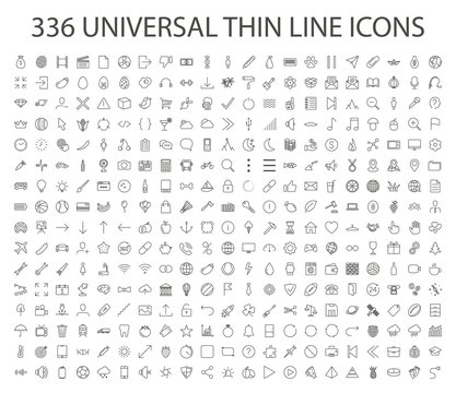 336 UNIVERSAL THIN LINE ICON vector. Outline web, business, finance, arrow, sport, food, technology, office collection. Trendy thin line style, illustration.