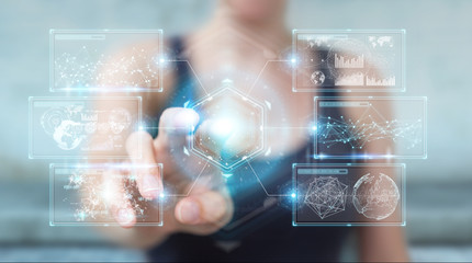 Businesswoman using digital screens interface with holograms datas 3D rendering