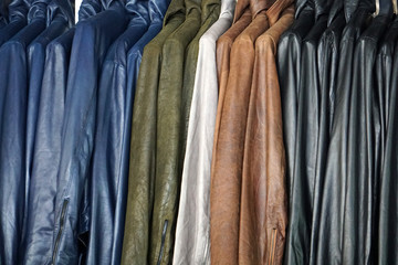leather jackets on display for sale