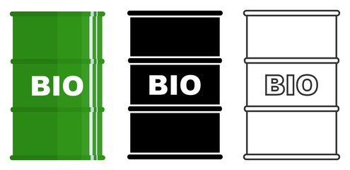 Industry concept. Set of different metal barrels for liquid substances, liquids, biofuel isolated in flat style: colored, black silhouette and contour. Vector illustration.