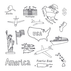 Map of the United States of America and its territories. North America, Alaska, USA, Hawaii, Guam and the US Virgin Islands. Statue of Liberty and the White House. vector