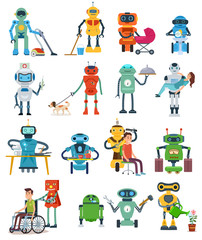 Set of Robot characters isolated on white background. Robots assistant gardener, nurse, governess, rescuer and waiter. Vector illustration