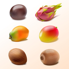 Set of isolated tropical fruits passion fruit, pitaya, mango, coconut, papaya, kiwi