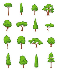 Spring and summer trees icons collection isolated on white, vector illustration