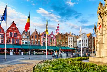 Bruges, Belgium. Central Market Square (Markt) in old town