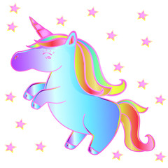 Neon unicorn and stars on a white background. Beautiful magic animal - children's fairy tale art