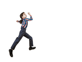 Boy preschooler jumping isolated on white background