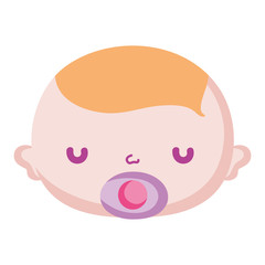 cute baby boy head with pacifier