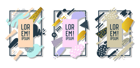 Futuristic Frames with Abstract Geometric Elements. Modern Art Graphics for Flyers, Posters, Banners, Placards, Brochures with Place for Text. Vector illustration