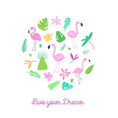 Childish Tropical Design with Cute Flamingos, Palms and Flowers. Exotic Bird Card for Birthday Invitation, Baby Shower. Hand Drawn Flamingo Children Print. Vector illustration