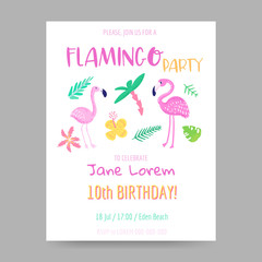Childish Tropical Summer Design with Cute Flamingos, Palms and Flowers. Exotic Bird Card for Birthday Invitation, Baby Shower. Hand Drawn Flamingo Children Print. Vector illustration