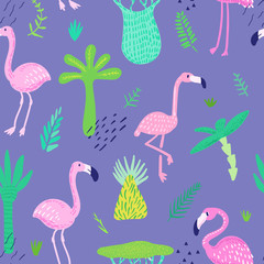Tropical Seamless Pattern with Cute Flamingo and Palm Leaves. Childish Summer Background for Wallpaper, Fabric, Wrapping Paper, Decoration. Vector illustration