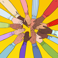 Pop Art Multicultural Hands. Multiethnic People Teamwork. Togetherness, Partnership, Friendship Concept. Vector illustration