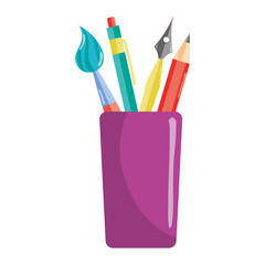 school utensils education inside plastic cup