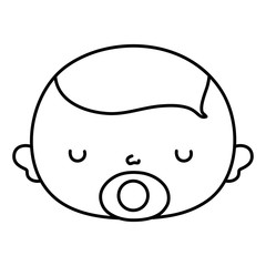 line cute baby boy head with pacifier
