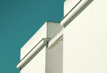 Abstract architecture. Close up of a white building facade