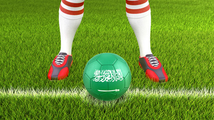 Man and soccer ball  with Saudi Arabia flag
