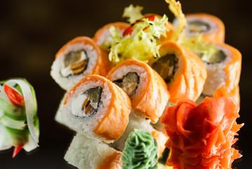 tasty sushi on table