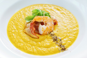 pumpkin cream soup with shrimps