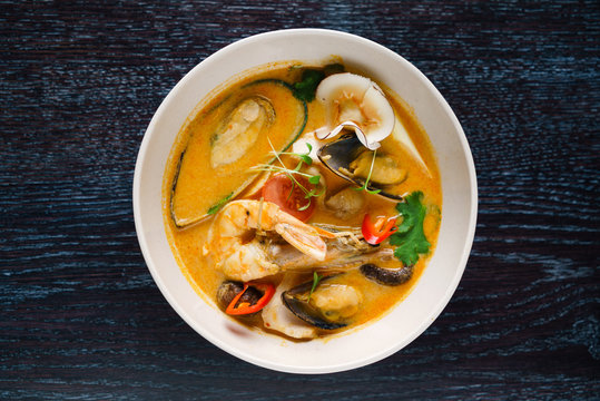 seafood soup in the restaurant
