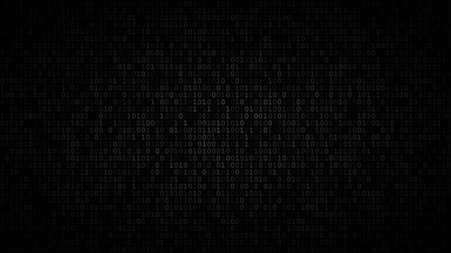 Abstract dark background of zeros ad ones in shades of gray colors.