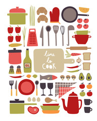 Vector set of kitchenware and food ingredients