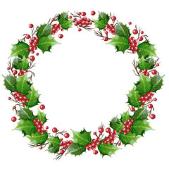 Wreath of holly branches