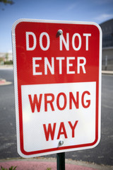 Do Not Enter, Wrong Way Sign