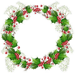Wreath of holly branches and gypsophila