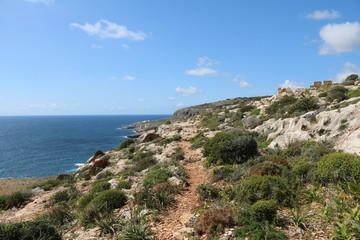 Coastal landscape between Qrendi and Għar Lapsi on the Mediterranean Sea at Island Malta