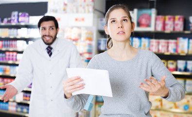 woman client who is dissatisfied of recommended medicines