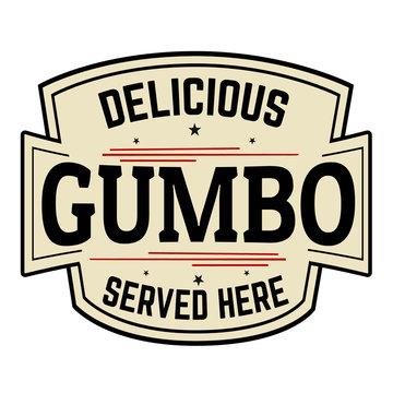 Delicious Gumbo label or icon