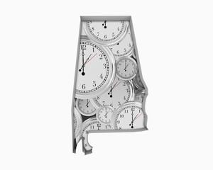 Alabama AL Clock Time Passing Forward Future 3d Illustration