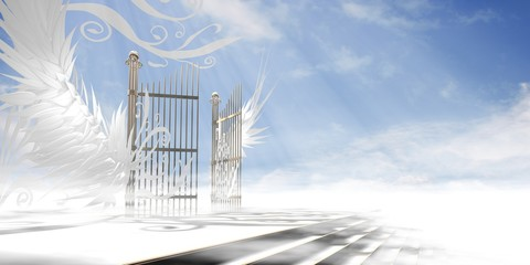 Gates of heaven concept wrapped in wings and ornaments over raised stair (version 2 - light atmosphere) - 3d high resolution rendering. Wall mural