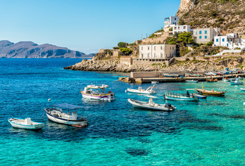 View of Levanzo Island, is the smallest of the three Aegadian islands in the Mediterranean sea of Sicily, Trapani, Italy Wall mural