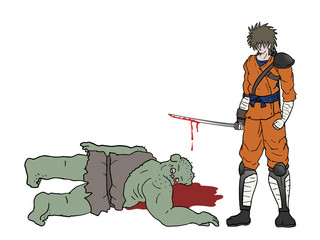 warrior killing a monster