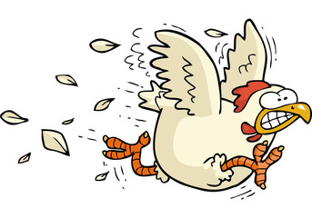 Cartoon running chicken